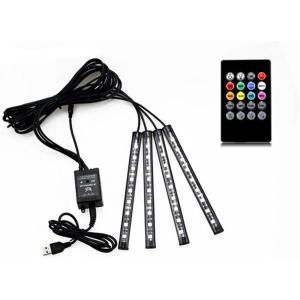送料無料 テープライト 4本 LED RGB 車用  装飾  防水  高輝度 フットライト 足下照明 リモコン付き 全7色フルカラー|isozaki-store