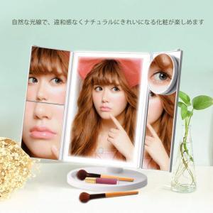 送料無料 三面鏡  折りたたみ式 LED メイク 化粧鏡 女優ミラー 鏡 卓上 15倍拡大鏡付き 選べる3カラー 明るさ調節可能 350度回転