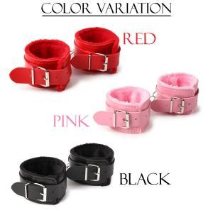 送料200円  手錠 手枷 SM かわいい ピンク ふわふわ おもちゃ ファー付きハンドカフス 手錠 合皮 レザー風 3カラー |isozaki-store
