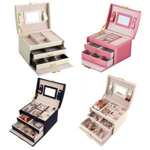 送料590円 アクセサリー ケース ジュエリーボックス ミラー付き 鏡 大容量 引き出し 3段 5カラー ジュエリー収納 宝石箱★ランキング1位獲得★|isozaki-store