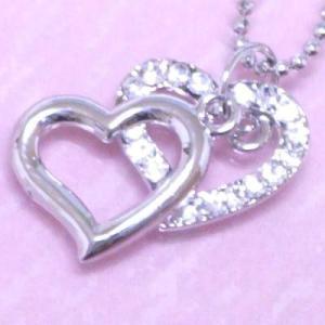 輝きが違うCZダイヤモンド ネックレス,ダブルハート オープンハート プラチナ仕上錆びない プレゼント 記念日 isozaki-store