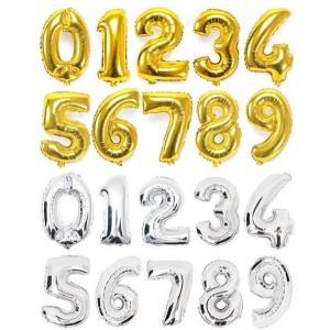 送料80円 誕生日 バルーン 数字 ナンバーバルーン 40cm ゴールド シルバー  風船 プレゼント