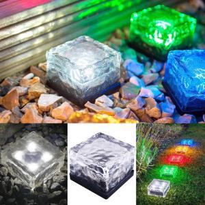 送料590円 感光式 ガーデンライト 自動 充電 自動点灯 防水 ソーラー式 LED 埋め込み可 キューブ型 ベランダ ウッドデッキ ライト|isozaki-store