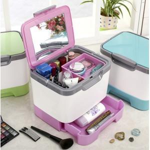 送料590円 メイクボックス 大容量 化粧箱 鏡付き 化粧品 ケース メイク道具 コスメの収納に コスメボックス 旅行に 持ち運び ミラー付き|isozaki-store