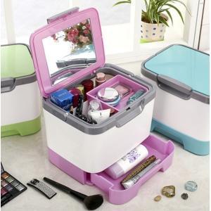 送料無料 メイクボックス 大容量 かわいい 鏡付き 化粧品 ケース メイク道具 コスメの収納に コスメボックス 旅行に 持ち運び ミラー付き|isozaki-store