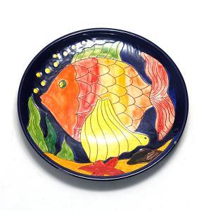 南イタリア レッチェ フィッシュ柄 パン皿 魚 絵皿 φ24 アクア 青 丸皿 食器 素焼き テラコ...