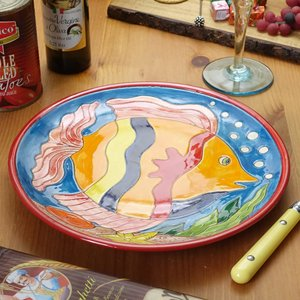 南イタリア レッチェ フィッシュ柄 パン皿 魚 絵皿 φ24 アクア 赤 丸皿 食器 素焼き テラコ...