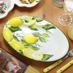 イタリア製 レモン柄 食器 陶器製 メインディッシュ ワンプレート 黄色 大皿 立体 レリーフ オー...