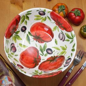 イタリア製 トマト柄 サラダボウル 深め 陶器 食器 ハンドメイド ベジタブル 鉢 真っ赤な Pom...