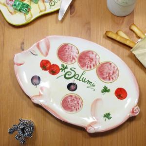 イタリア製 おつまみ プレート ブタ柄 ペッパーボード サラミ トマト オリーブ 食器 平皿 アンテ...