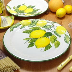 イタリア製 レモン柄 食器 陶器製 ディナープレート 黄色 大皿 立体 レリーフ パーティープレート...