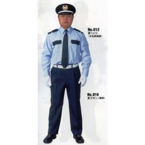 警備服 夏用カッターシャツ上下組(水色肩胸紺)|isp