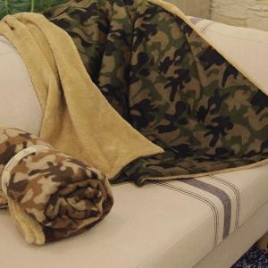 ブランケット 丸める 迷彩 カモフラ カモ柄 ひざ掛け ブラウン 茶色 ウール混 あったか 冷房対策 毛布 ハーフケット isshoudou
