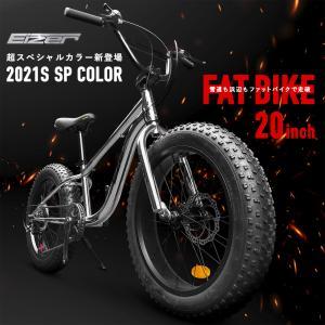 ファットバイク 20インチ 極太タイヤ 太いタイヤ シルバー マウンテンバイク メッキ シマノ 7段変速 Wディスクブレーキ 自転車本体 EIZER F120|isshoudou