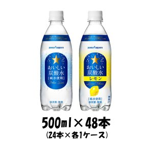 サッポロ おいしい炭酸水(プレーン、レモン)各24本 500...