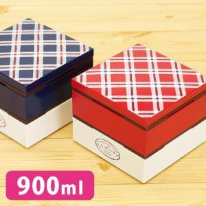 4.0角二段弁当 フレンチェック 二段 弁当箱 モダン 日本製 人気 北欧風 正和 四角|issoecco