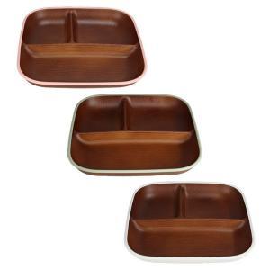 木目スクエアワンプレートL トリム 日本製 人気 北欧風 プラスチック 食器 取り皿 テーブルウェア|issoecco