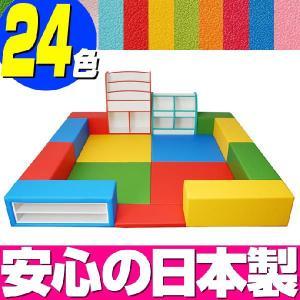 キッズコーナー バンビファンシーセット 2畳 プランC/キッズスペース セット おもちゃばこ 絵本たて|isuharikoubou