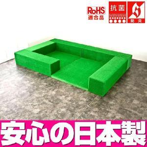 (キッズコーナー 人工芝)ターフユニット クレピスシリーズ フロアマット2枚 入口ありプラン|isuharikoubou