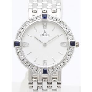 セイコー クレドール K18WGダイヤベゼル サファイア GTAA007 4N70-0090 レディス 腕時計|isuzu78quality