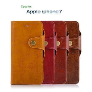 Apple iPhone8/iPhone7 ケース 手帳型 レザー カバー ヴィンテージ バネホック かっこいい カード収納 アイフォン7 手帳型カバー|it-donya