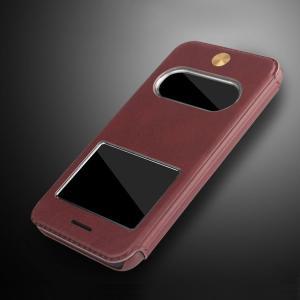 Apple iPhone8/iPhone7 ケース 手帳型 レザー アイフォン7  カバー 窓付き カバーの上から応答可能 シンプル おしゃれ|it-donya
