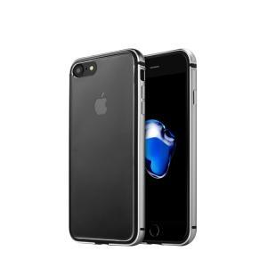Apple iPhone8/iPhone7 アルミバンパー クリア バックパネル フルカバー シリコンインナー  耐衝撃 アイフォン7 メタルバンパーフ|it-donya
