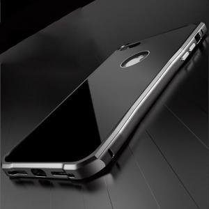 iPhone7 アルミバンパー ケース 背面カバー付き かっこいい ジェットブラック スリム 軽量 アイフォン7 メタルサイドバン|it-donya