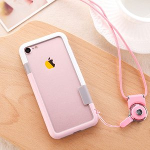 Apple iPhone8/iPhone7 バンパー ネックストラップ ツートンカラー アイフォン7 カラーバンパー it-donya