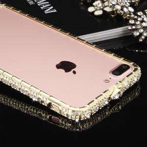 apple iPhone 8 Plusアルミバンパー ケース ラインストーン キラキラ エレガント かわいい おしゃれ 金属スマートフォン/スマフォ/スマホバンパー|it-donya