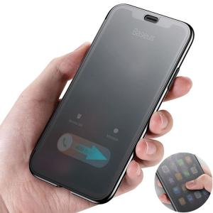 iPhone X ケース 液晶保護 半透明パネル カバーの上から操作可能 アイフォンX クリアケース it-donya