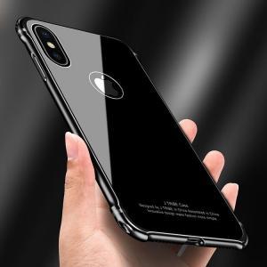 Apple iPhoneX ケース アルミ バンパー 背面強化ガラス 背面パネル付き かっこいい アイフォンX  アルミサイドバン  ipx-mg01-w71106|it-donya