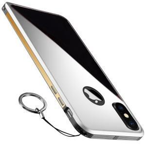 apple iPhone X アルミ バンパー ケース メッキ/鏡面 背面カバー付き かっこいい スリム 軽量 アイフォンX メタ  ipx-mm02-w71027|it-donya