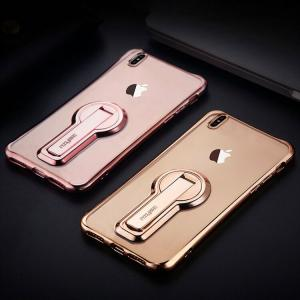 iPhone X クリア ケース 耐衝撃 スタンド付き ストラップホール付き TPU スリム 薄型 メッキ ケース アイフォンX 透明ケース|it-donya