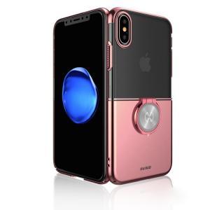 アイフォンX クリアケース シンプル メッキ 片手持ち スマホリング付き かっこいい メッキ アイフォンX 透明ケース it-donya