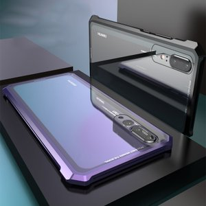 P20 pro ケース カバー アルミ バンパー クリア 透明 強化ガラス 背面パネル付き アルミかっこいい ファ HW-01K / Huawei / ファーウェイ