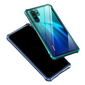 Huawei P30/P30 Pro ケース/カバー アルミ バンパー クリア 透明 背面強化ガラス...