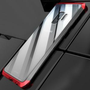 Galaxy S9 ケース アルミ バンパー クリア 透明 強化ガラス 背面パネル付き アルミ かっこいい /SC-02K / SCV38|it-donya