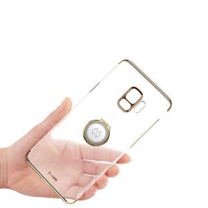 Samsung Galaxy S9 クリアケース/カバー メッキ 片手持ち スマホリング付き  ギャラクシーS9 / SC-02K / SCV38  galaxys9 透明ハードケース/カバースマホケース it-donya