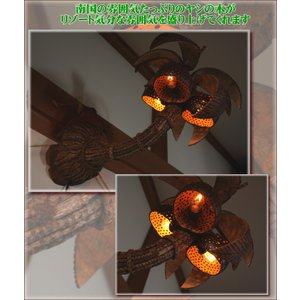 照明 間接照明 ランプ アジアン 雑貨 インテリア ココナッツやしの木ランプ壁掛けタイプ|ital-village