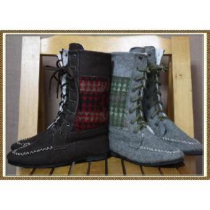 エスニック アジアン 靴 ファッション レディース 2WAYエスニック編み上げフェルトブーツ|ital-village