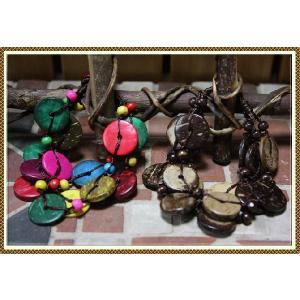エスニック アジアン ブレスレット ファッション レディース エスニックココナッツ3連ブレスレット|ital-village