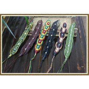 エスニック アジアン ブレスレット ファッション レディース 蝋引きコットンぐるぐるブレスレット|ital-village
