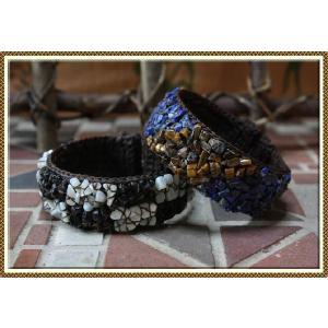 エスニック アジアン バングル ブレスレット ファッション レディース 天然石ミックスワイヤーバングル|ital-village