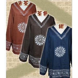 エスニック アジアン プルオーバー シャツ メンズ ファッション レディース エスニックロングスリーブVネックシャツ|ital-village