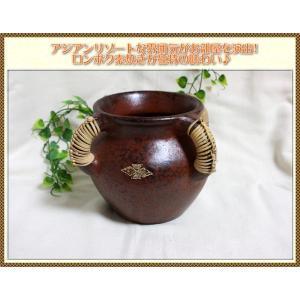 アジアン 雑貨 エスニック  ロンボク素焼き ミニ壺 ポット|ital-village