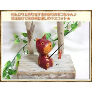 アジアン雑貨 エスニック アジアン 木彫り人形 釣りをする木彫り猫 インテリア 置き物|ital-village