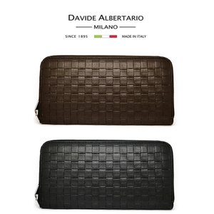 長財布  ラウンドファスナー  メンズ ダビデアルベルタリオ DAVIDE ALBERTARIO 黒 ブラック nero ネロ (t906-1)404ambk italybag