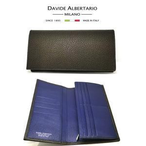 二つ折り長財布 本革 フラップ 茶色 ブラウン ブルーレザー 財布 メンズ ダビデアルベルタリオ DAVIDE ALBERTARIO(t807-1) 2041mb|italybag