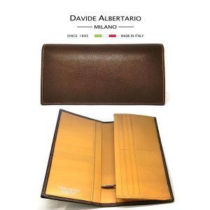 二つ折り長財布 本革 フラップ ブラウンレザー 財布 メンズ ダビデアルベルタリオ DAVIDE ALBERTARIO(t807-1) 2041mc italybag